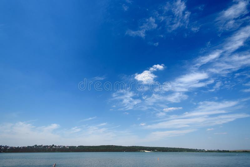 Amazing beautiful landscape of blue sky and water, travel peaceful moment royalty free stock image