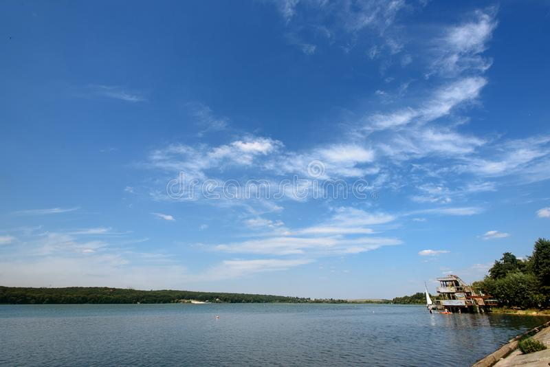 Amazing beautiful landscape of blue sky and water, travel. Peaceful moment stock photography