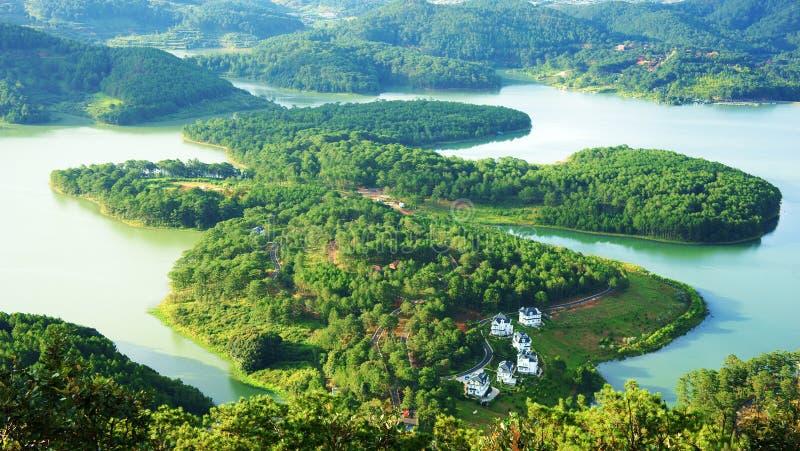 Amazing, beautiful panorama, Dalat travel, Vietnam. Amazing, beautiful panorama of Tuyen Lam lake of Dalat city, fresh air, group of villa among forest stock photography