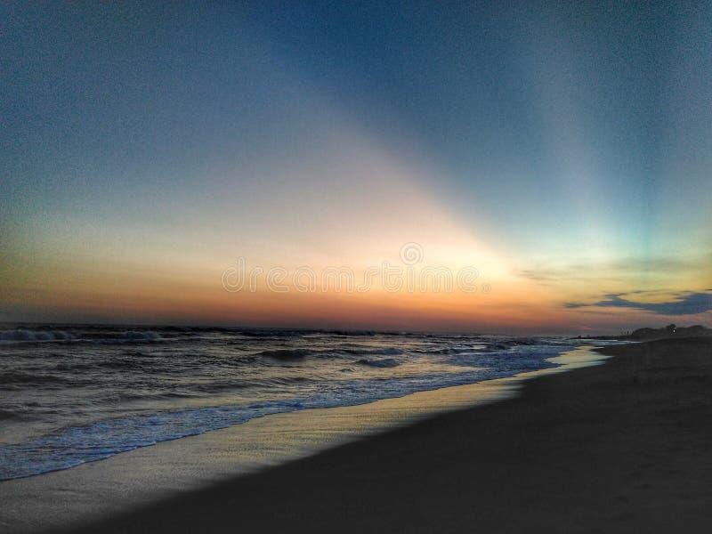 Sunset at Depok Beach, Yogyakarta, Indonesia royalty free stock image
