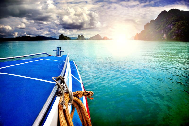 Amazing beautiful view of the sea, boat and clouds. Trip to Asia, Thailand. Beach landscape royalty free stock images