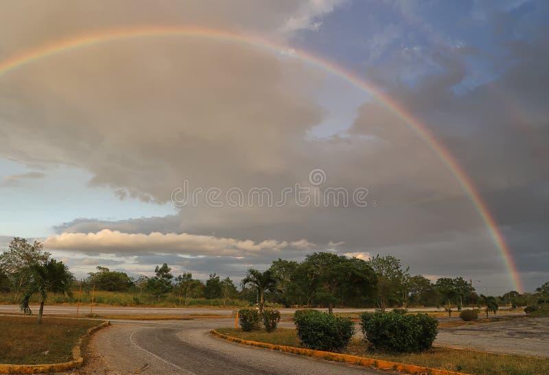 Amazing big rainbow after the rain royalty free stock image