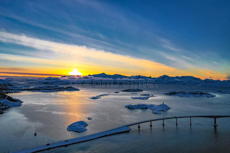 Amazing aerial view of Sommaroy Northern Norway royalty free stock photos