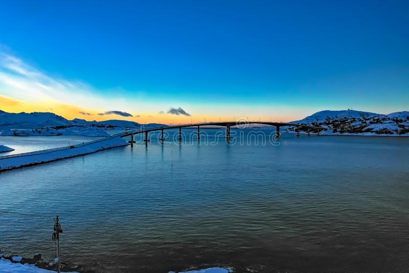 Amazing aerial view of Sommaroy Northern Norway royalty free stock photo