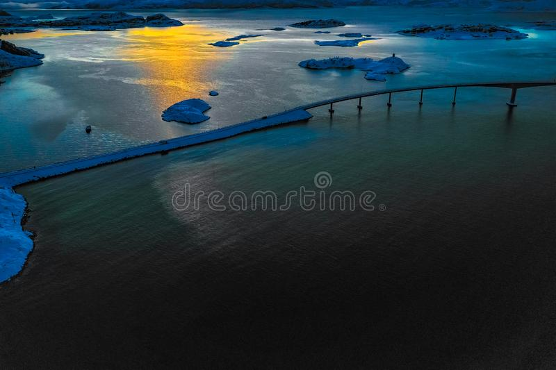 Amazing aerial view of Sommaroy Northern Norway stock photography