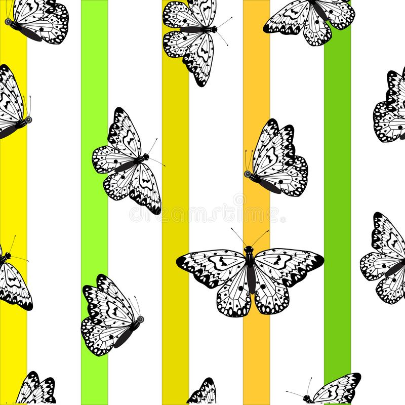 This is an amazing black butterfly. A white background with multi-colored stripes. royalty free illustration