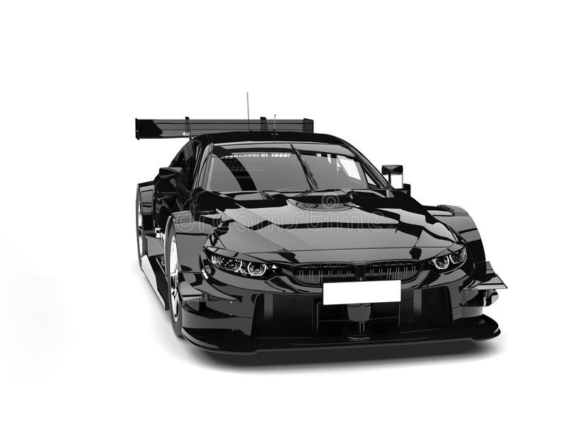 Amazing black super car - front view beauty shot royalty free illustration