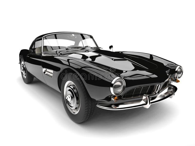 Amazing black vintage race car - closeup shot royalty free illustration