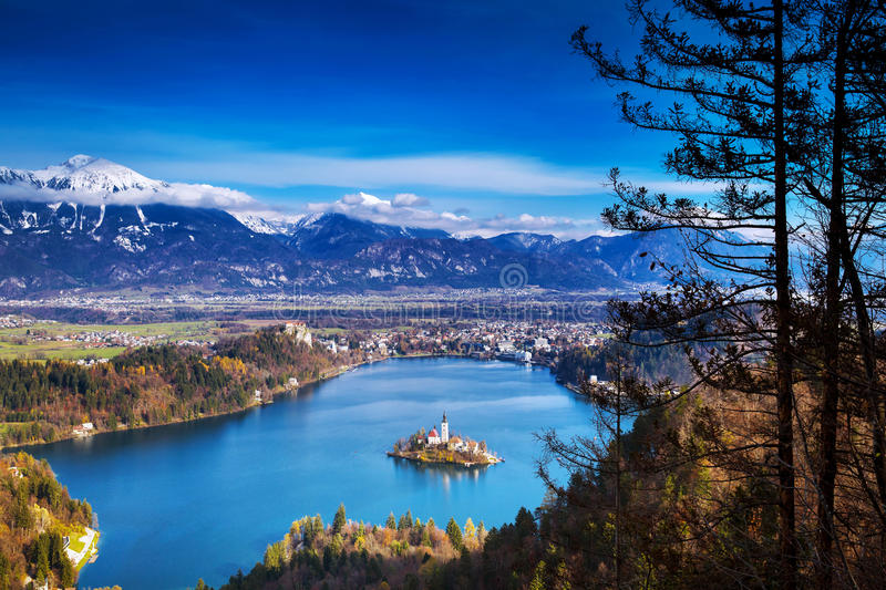 Amazing Bled Lake, Slovenia, Europe. Amazing View On Bled Lake. Autumn or Winter in Slovenia, Europe. Top view on Island with Catholic Church in Bled Lake with royalty free stock image