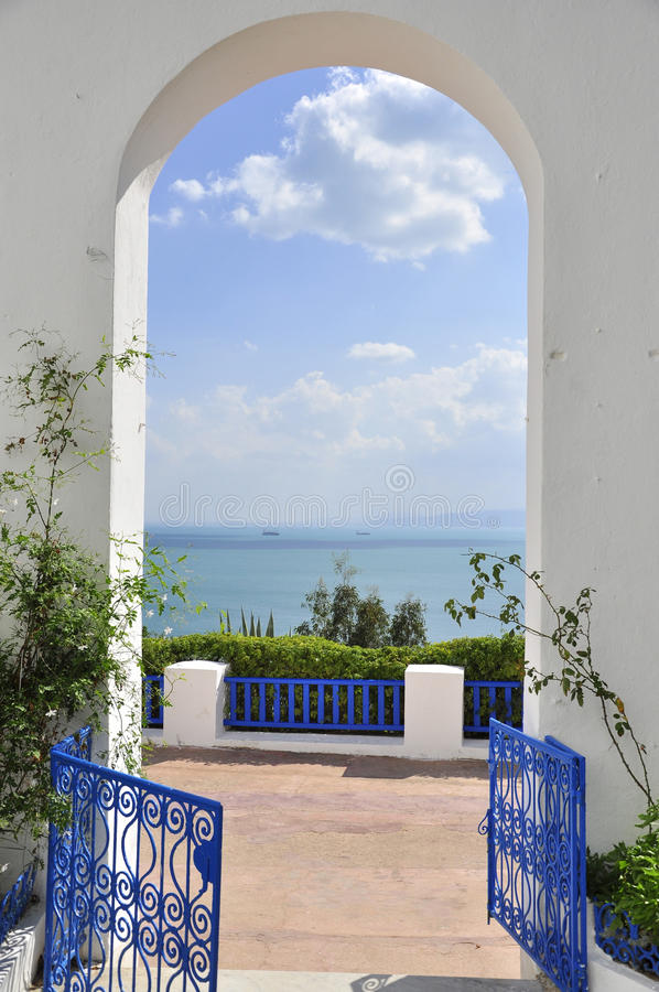 Download Amazing Blue Fence And Arcade Of Sidi Bou Said Stock Photo - Image of entrance, tunisian: 21505526