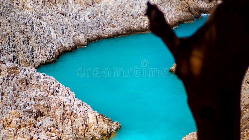 Amazing blue secluded cove surrounded by stone cliffs - tree in the foreground royalty free stock image