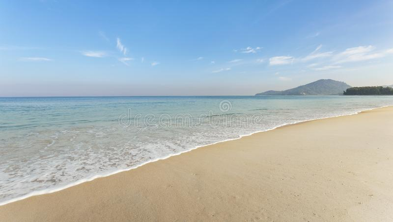 Amazing blue sky and calm Andaman sea in the morning Beautiful seascape nature for background and summer design.  stock image