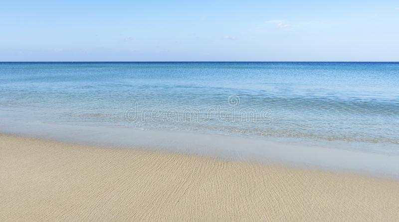 Amazing blue sky and calm Andaman sea in the morning Beautiful white sand beach nature for background and summer design.  stock photography