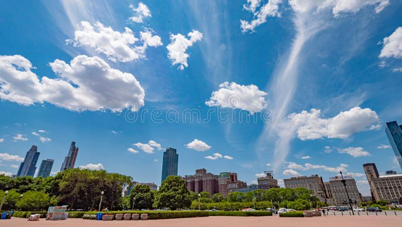 Amazing blue sky over Chicago on a sunny day - CHICAGO, USA - JUNE 11, 2019 stock photography