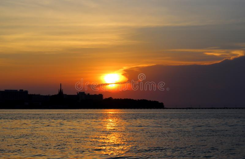 Amazing bright sunset at the sea royalty free stock image