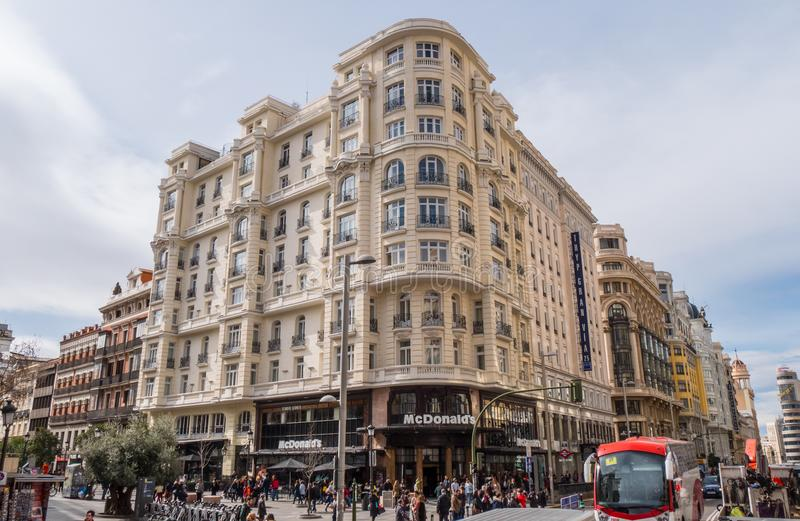 Amazing buildings at Gran Via street in Madrid royalty free stock photos