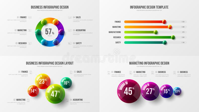Amazing business data horizontal bar chart design layout. Colorful 3D balls corporate statistics infographic elements set. Company marketing analytics royalty free illustration