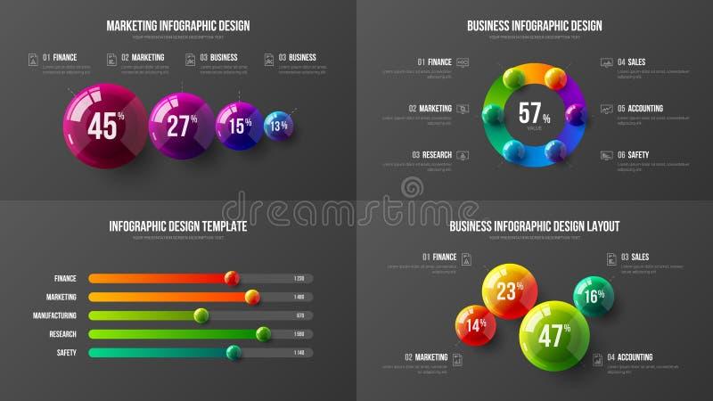 Amazing business data horizontal bar chart design layout. Colorful 3D balls corporate statistics infographic elements set. Company marketing analytics royalty free illustration