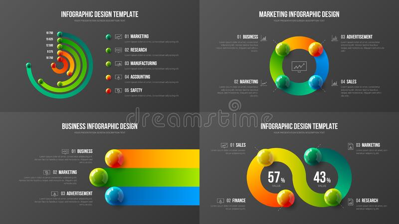 Amazing business data radial bar design layout bundle. Colorful realistic 3D balls corporate statistics infographic elements set. stock illustration