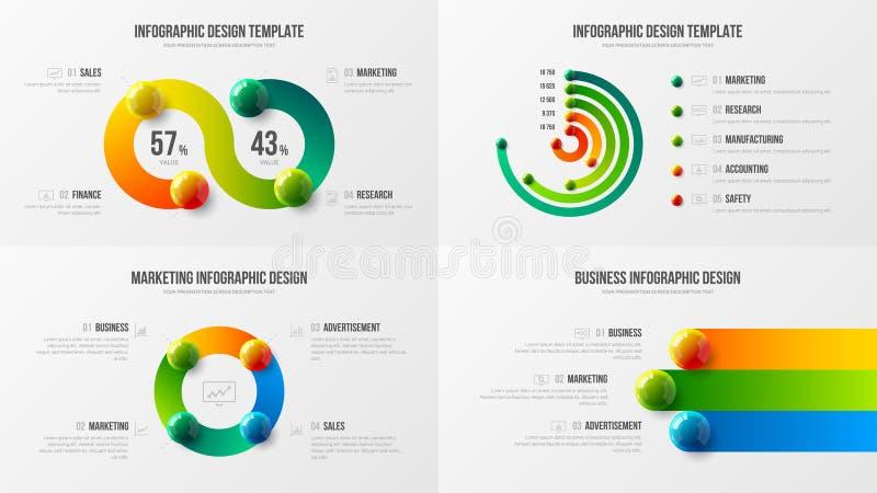 Amazing business data radial bar design layout bundle. Colorful realistic 3D balls corporate statistics infographic elements set. stock illustration
