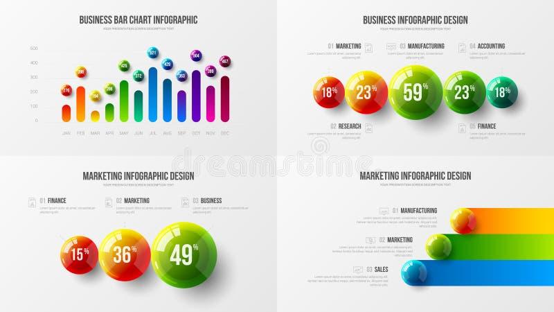 Amazing business data vertical bar chart design layout vector illustration bundle. Company marketing analytics presentation vector illustration template bundle stock illustration