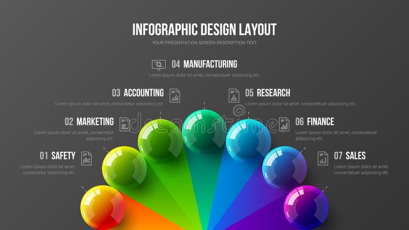 Amazing business infographic presentation vector 3D colorful balls illustration. Marketing analytics data report design layout. Amazing business infographic vector illustration