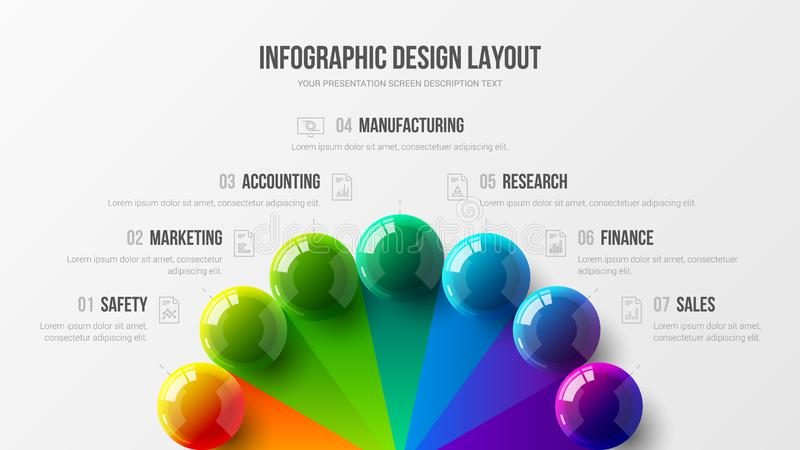 Amazing business infographic presentation vector 3D colorful balls illustration. Marketing analytics data report design layout. Amazing business infographic stock illustration