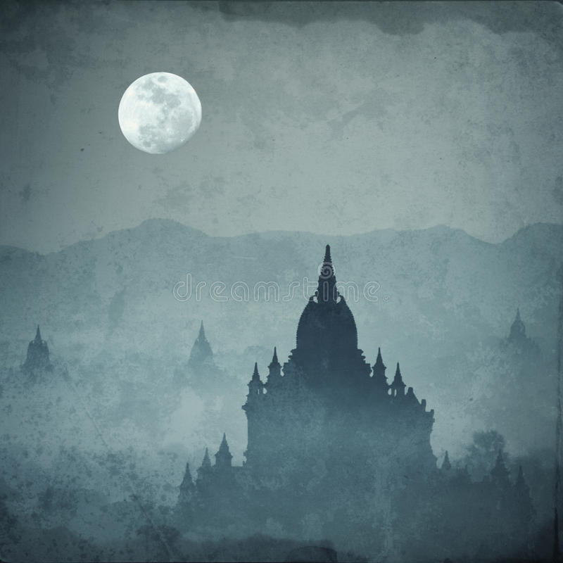 Amazing castle silhouette under moon at mysterious night stock photos