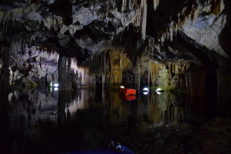 Cave of Diros, Greece stock photography