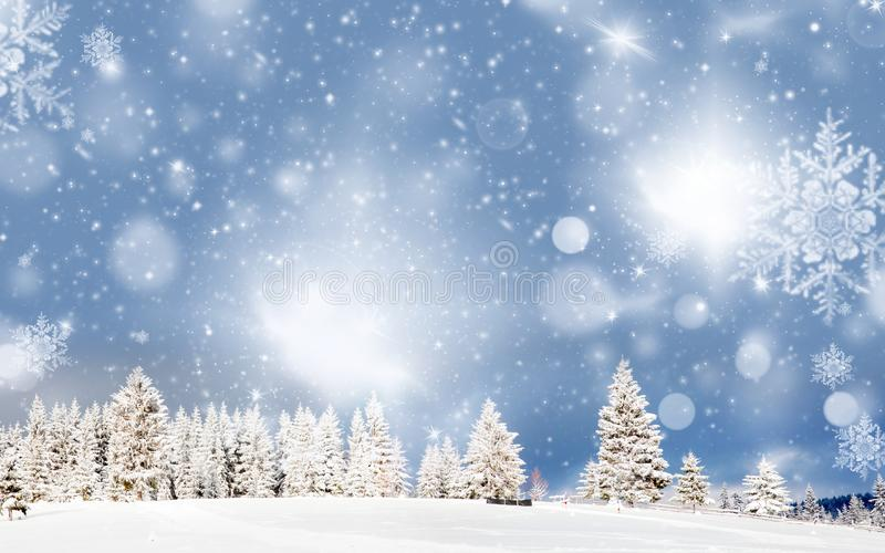 Amazing Christmas background with snowy firs winter landscape. Forest, frost, nature, sky, season, tree, mountain, cold, beautiful, wonderland, ice, outdoor royalty free stock photos