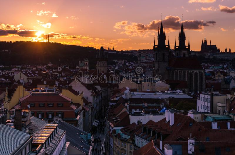 Amazing cityscape view of Prague Castle and church of our Lady Tyn, Czech Republic during sunset time. View from powder tower stock photography