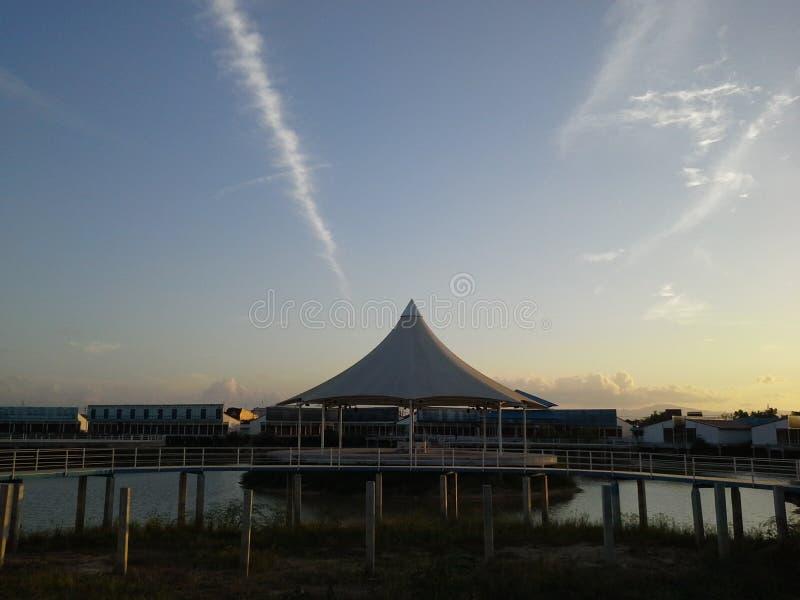 Amazing cloud look like jets over dome Hadyai,Thailand stock photos