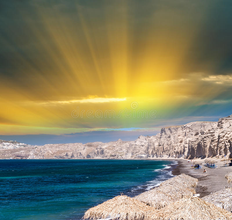 Amazing coastal colors of Santorini, Greece royalty free stock image