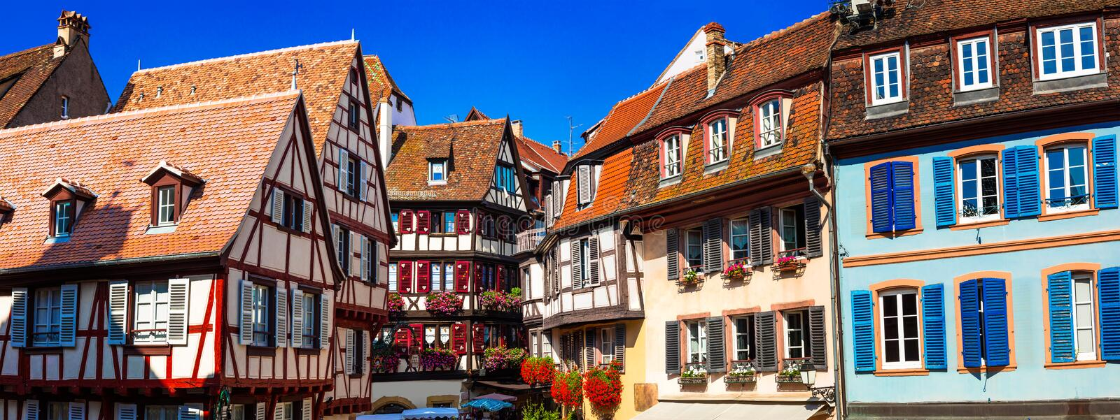 Amazing Colmar -traditional floral town in Alsace region,France royalty free stock photo