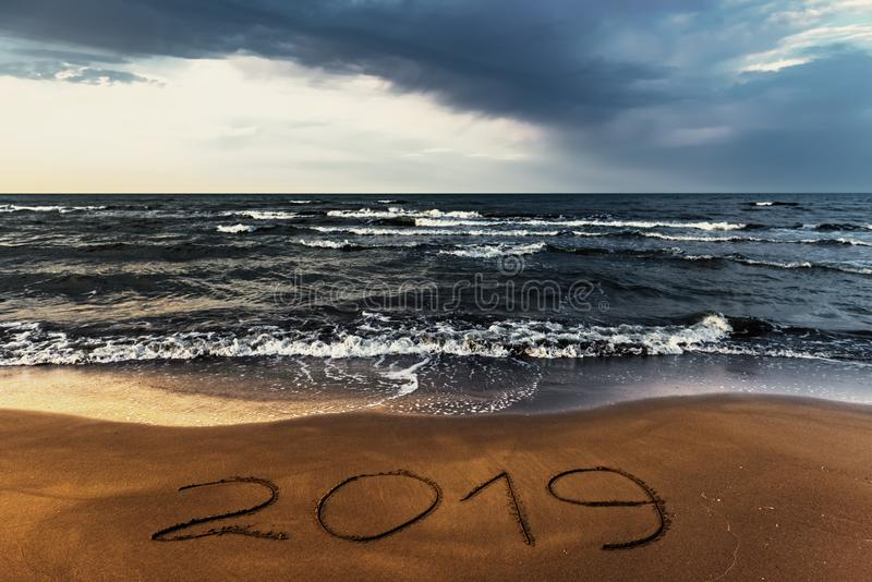 Amazing colorful sky over sea, empty beach royalty free stock photos
