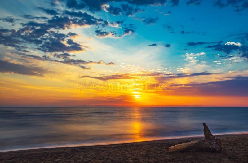 Amazing colorful sunrise at sea. Long exposure stock images