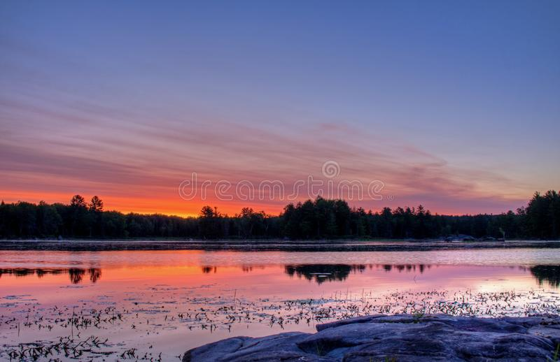 Amazing Colors And Reflections Before Sunrise stock image