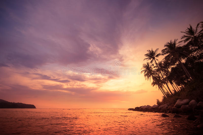 Amazing colors of tropical sunset. Thailand stock image