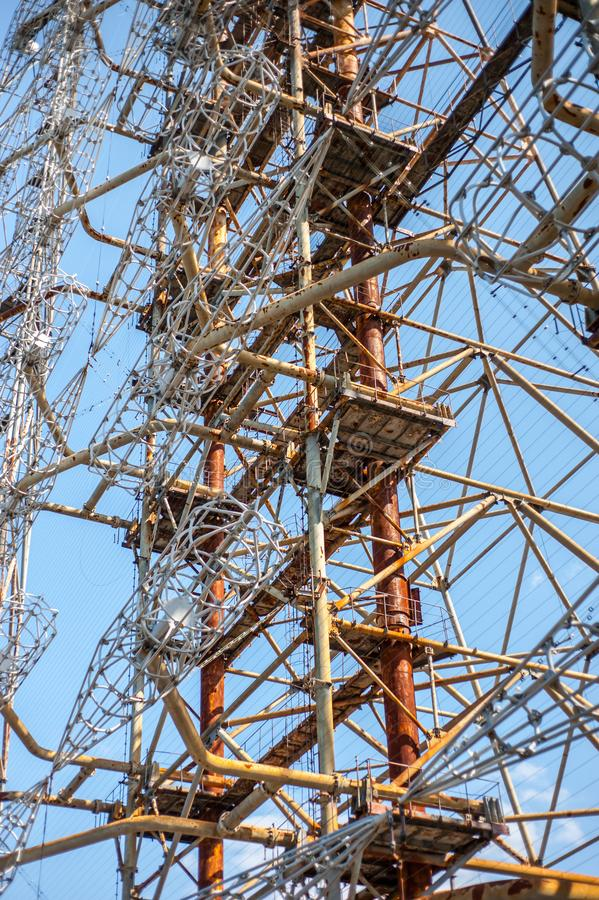 Amazing construction of telecommunication radio center in Pripyat, Chernobyl stock image