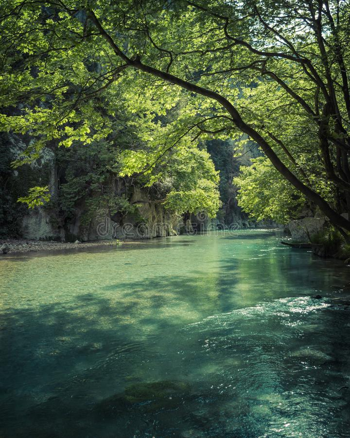 The amazing crystal clear waters of Acheron Springs located in the Epirus region of northwest Greece. Nature stock photo