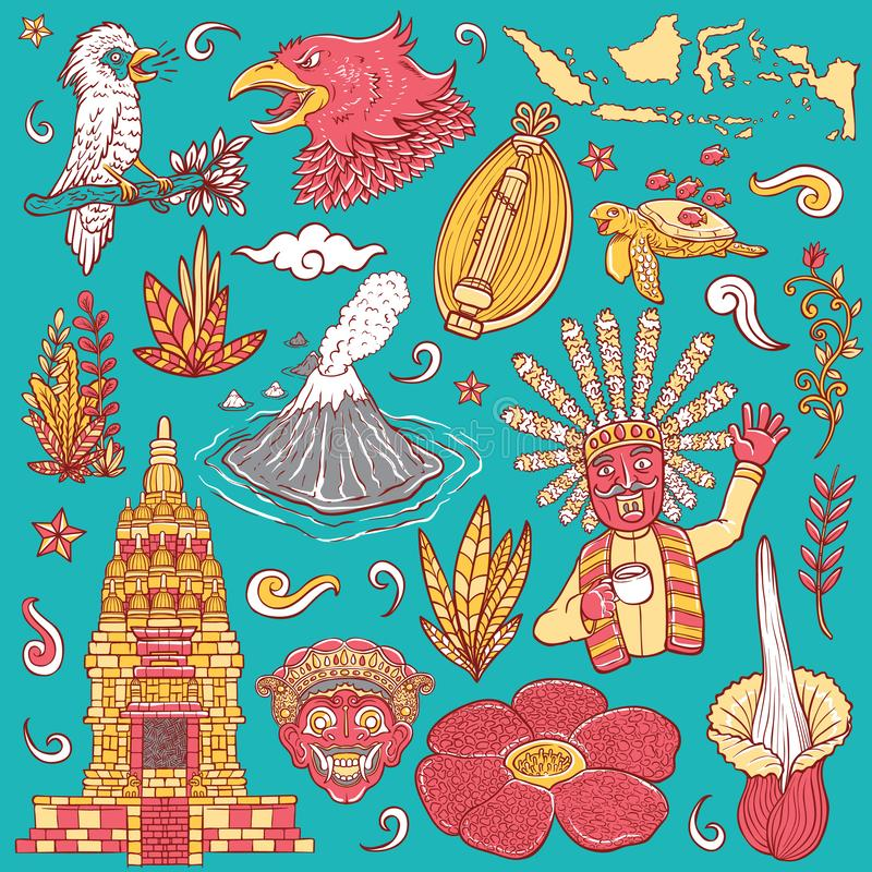 Amazing culture flora and fauna indonesia isolated coloring illustration stock illustration