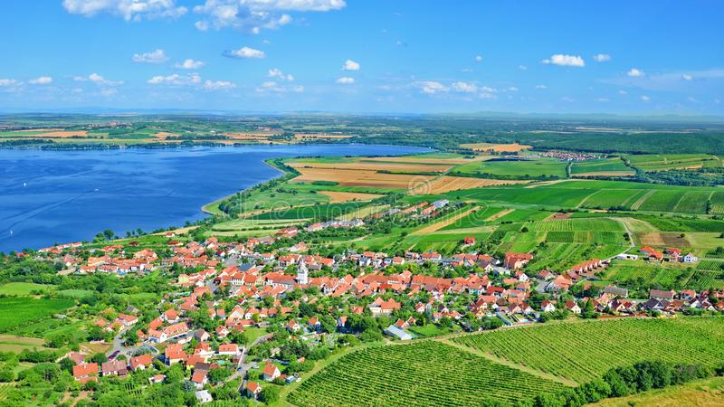 Amazing Czech landscape around Moravian village Pavlov captured on 16:9 aerial photography royalty free stock photos