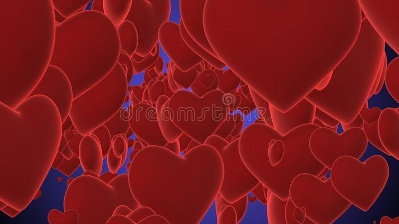 Romantic Purple Hearts Illustration. An amazing 3d illustration of purple hearts turning and shining together in the violet background. They remind us the St royalty free illustration