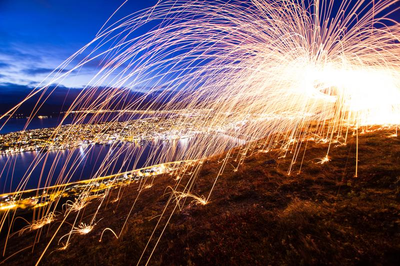 Download Tromso Light Painting Sparks Spinning Norway Stock Photo - Image of outdoor, composition: 112635718