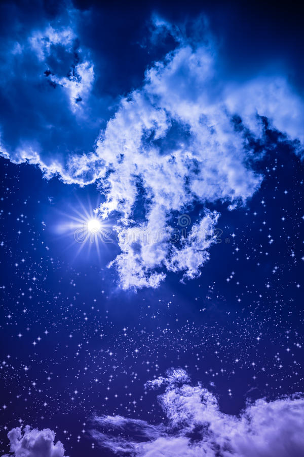 Amazing dark night sky with many stars, bright full moon and cloudy. Amazing blue dark night sky with many stars, bright full moon and cloudy. Outdoor at stock photos
