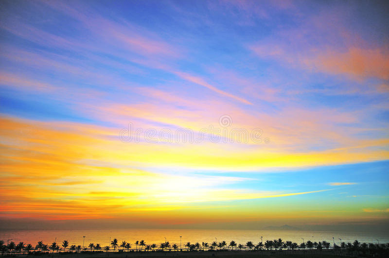 Amazing daybreak. On seaside, Da Nang, Vietnam stock photography