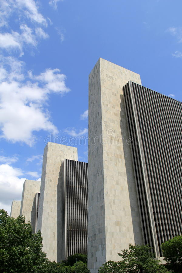 Amazing design in architecture, Agency buildings 1-4, Albany State Plaza, Albany,New York,2015. The starkly abstract and geometric shapes of the Agency Buildings stock photo