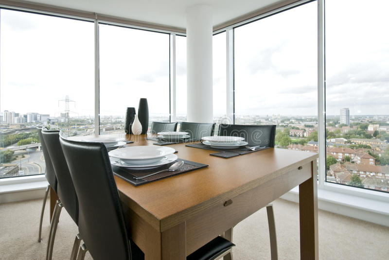 Amazing dining area with great city views royalty free stock image