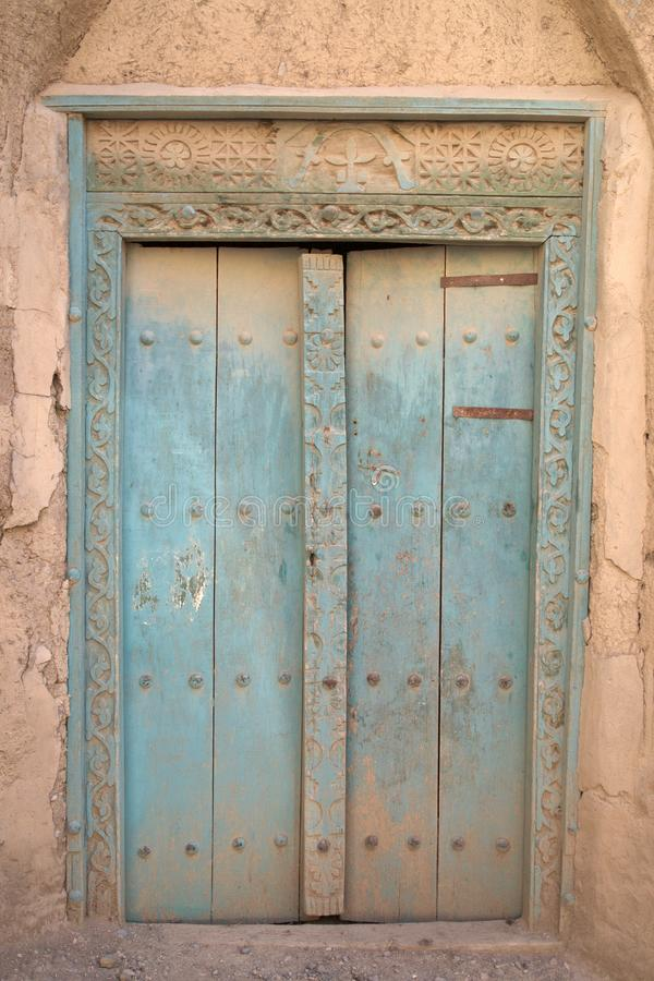 The amazing Doors of abandoned buildings on Oman. The truely amazing coloured doors of abandoned buildings in the countryside on Oman stock photos