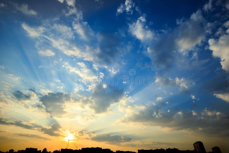 Amazing dramatic sunset royalty free stock photos